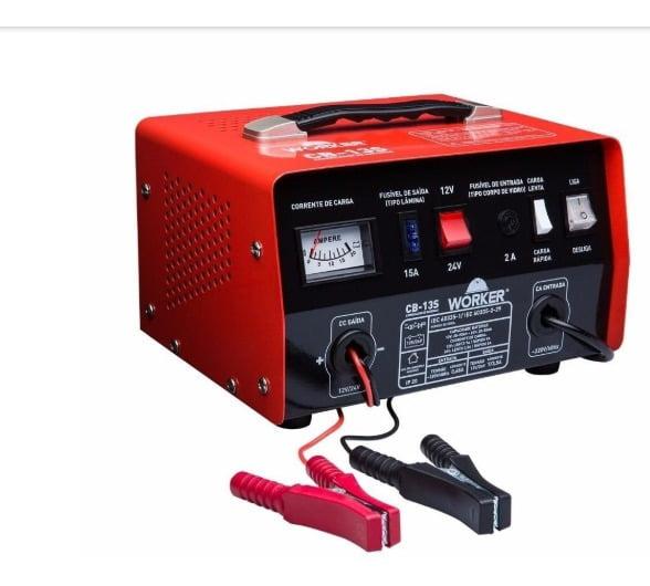 Carregador de Bateria 12 e 24V Portátil Worker CB-13S - 434744