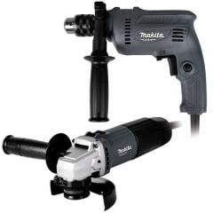 """Combo Esmerilhadeira 115mm (4.1/2""""') + Furadeira de Impacto 16mm (5/8"""""""") - MTK0003G - MAKITA"""